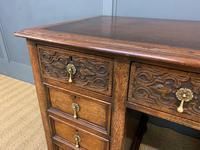 Good Carved Oak Pedestal Desk (8 of 18)