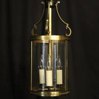 French Convex Gilded Triple Light Hall Antique Lantern (2 of 10)