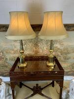 Pair Of Early 20th C Brass Lamps With Silk Shades (3 of 7)