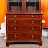 Secretaire Bureau Bookcase Astragal Glazed Mahogany (4 of 17)