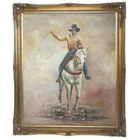 Fine American 20th Century Oil Painting Wild West Rodeo Cowboy Riding Horseback