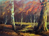 Immaculate Large Original Mid-20thc Vintage Autumn River Landscape Oil Painting (7 of 11)
