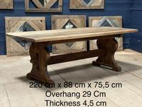 Larger French Bleached Oak Trestle Farmhouse Dining Table (2 of 21)