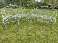 Pair of Art Deco Style Peacock Design Garden Curved Benches (32 of 35)