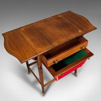 Antique Drop Leaf Sewing Table, English, Rosewood, Side, Lamp, Regency c.1820 (9 of 12)