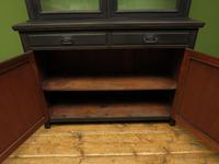 Antique Black Painted Bookcase Dresser Cabinet with Glazed Top, Lockable, Gothic (7 of 14)