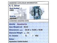 25.23ct Aquamarine & 3.40ct Diamond, Platinum Dress Ring - Vintage c.1950 (6 of 9)