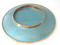 Fine Japanese Blue Cloisonné Orchid Plate (2 of 4)