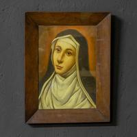 Late Victorian Oil Painting of a Nun