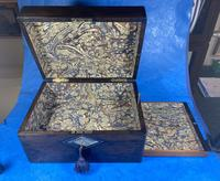 Victorian Ebonised Jewellery Box with Mother of Pearl & Abalone Inlay (7 of 18)