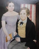Large Oil on Canvas Portrait of Brother & Sister 1860 (12 of 13)