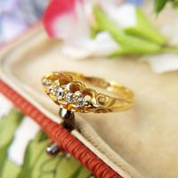 Edwardian 18ct Yellow Gold Five Old Cut Diamond Ring, Antique 1905-1906 (8 of 8)