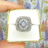 Authentic Art Deco Platinum Rose Cut Diamond & Sapphire Cluster Ring c.1920 (10 of 11)