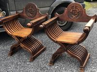 Important Pair Savonarola Walnut Chairs