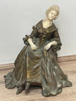 Important Art Nouveau Bronze Marble Seated Lady Sculpture By Xavier Raphanel (3 of 39)