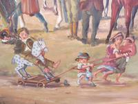 Oil on Board 'a hunting we do go' Artist R M Crompton 1930s (8 of 10)