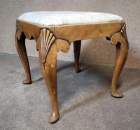 Queen Anne Style Walnut Stool c.1920 (5 of 10)