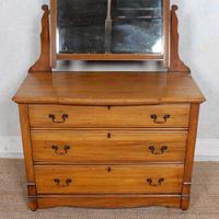 Satinwood Dressing Table Mirrored Arts & Crafts (2 of 10)