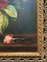 Striking Early 1900s Antique Large Floral Display Oil on Canvas Painting (11 of 12)