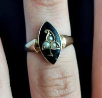 Antique Navette Mourning Ring, Black Enamel & Pearl, Ivy Leaf, 9ct Gold (10 of 10)