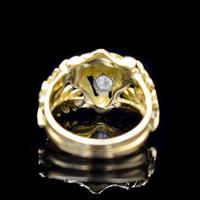 Antique Diamond Lions Head and Laurel Leaf 18ct 18K Yellow Gold Ring (3 of 9)