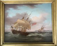 'an English Frigate in a Stiff Breeze'  An Oil Painting on Mahogany Panel Circa 1800  Signed Thomas Whitcombe C1752 - 1824 (3 of 5)