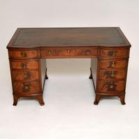 Antique Mahogany  Leather Top Pedestal Desk (3 of 11)