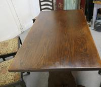 Oak Refectory Table with Set of 4 Chairs (7 of 8)