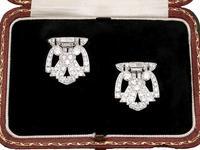7.27ct Diamond and Platinum, 18ct White Gold Double Clip Brooch - Art Deco c.1930