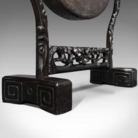 Antique Dinner Gong, Oriental, Ebonised Teak Stand, Chinoiserie, Victorian, 1880 (11 of 12)