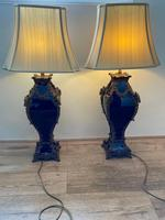 Pair of French Large Rams Heavy Bronze Blue Ceramic Table Lamps (43 of 46)