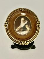 French Signed Portrait Miniature in Wood & Brass Frame c.1925 (2 of 8)