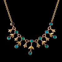 Antique Edwardian Turquoise Pearl Garland Necklace 9ct Gold Circa 1905 (6 of 6)