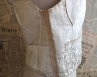 Antique Victorian Ivory Colour Silk Waistcoat (4 of 12)