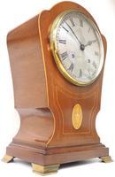 Edwardian Tulip shaped 8-Day Mantel Clock English Mahogany Inlaid Striking Mantle Clock Magnificent Size (9 of 11)