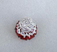 Rare Victorian Silver Mounted Cranberry Glass Vinaigrette c.1890 (2 of 7)