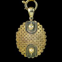Antique Victorian Locket Collar Necklace Sterling Silver 18ct Gold Gilt Dated 1881 (8 of 11)