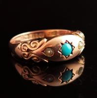 Antique Turquoise & Pearl Ring, 9ct Gold (8 of 11)
