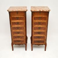 Pair of Antique French Marble Top Slim Chests of Drawers (2 of 11)