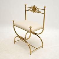 Antique French Empire Style Brass Stool / Chair (3 of 9)