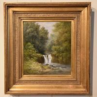 """Oil Painting Pair by William Ward Gill """"Falls at the Head of Loch Lomond"""" (5 of 8)"""