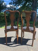 Pair of Antique Queen Anne Style Walnut Side Chairs c.1910 (5 of 7)