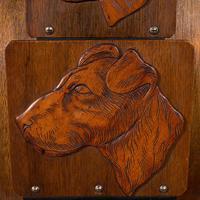 Antique Decorative Dog Letter Rack, English, Mahogany, Oak, Wall, Edwardian (6 of 8)