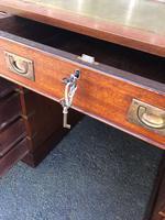 Brass Bound Mahogany Military Pedestal Desk (10 of 14)