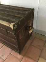 """19th Century French """"Louvre Paris"""" Vellum, Leather & Rattan Tarvelling Trunk with Tray 'like Louis Vuitton' (3 of 10)"""