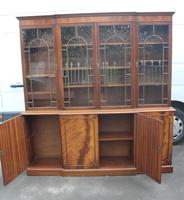 1960s Large Mahogany 4 Door Breakfront Bookcase with Glazed Top (4 of 6)