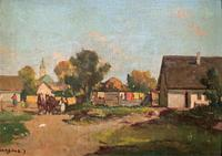 Josef Harencz Farmyard & Horses Landscape Oil Painting (2 of 10)