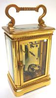 Rare Antique French 8-day Carriage Clock Unusual Masked Dial Case with Enamel Dial (5 of 10)