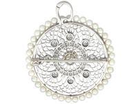 1.38 ct Diamond and Seed Pearl, Platinum Pendant / Brooch - Antique Italian Circa 1900 (5 of 12)