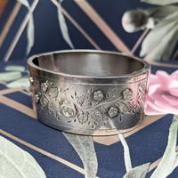 Antique Victorian Sterling Silver Aesthetic Movement Bangle, 1884 (4 of 9)